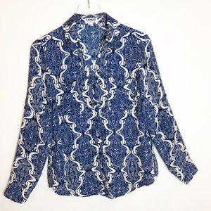 Express | Blue & White Pattern Portofino Shirt